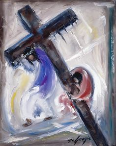 Station V Simon helps Jesus to carry His cross. While living in Italy as a small…