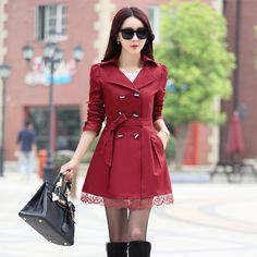 2015 New Hot Autumn long trench coat for women lace fashion british style windbreaker abrigos mujer coats 8 color M XXL YYF002-in Trench from Women's Clothing & Accessories on Aliexpress.com | Alibaba Group