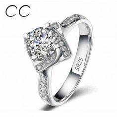 Square Shape Flower Rose Design Wedding Engagement Rings for Women Zirconia Diamond Jewelry Ring Bijoux Femme Wholesale CC095