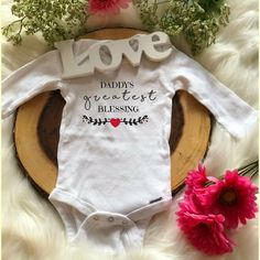 e53d95028 Baby Onesie / Mommy and Daddy Greatest Blessing / Thanksgiving / Grateful /  Going Home Outfit