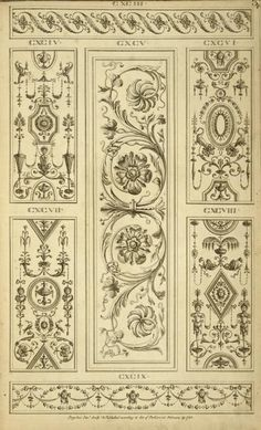 [Central design of two floral shapes surrounded by curling vegetal shapes.]