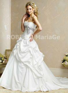 Bustier sans bretelle corset drapé satin élégant robe de mariée [#ROBE20822] - robedumariage.com