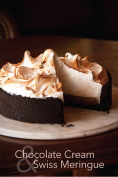 Chocolate Cream Pie with Swiss Meringue from @Greg Henry | Sippity Sup
