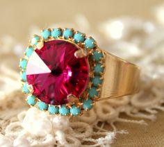 Pink Turquoise adjustable ring - 14k plated gold adjustable ring real swarovski rhinestones .. $36.00, via Etsy.