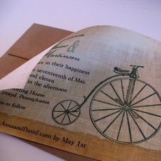 Bicycle fabric invitation forthe vintage by ArtfulBeginnings, $75.00