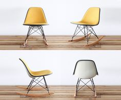 A great rocker that can fit in small nurseries. (Classic Eames RSR -Honey Pin-Check Hopsack)