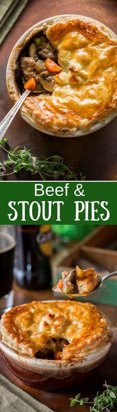 Beef and Stout Pies ~ tender chunks of beef are slow simmered in a rich stout broth with fresh thyme, cremini mushrooms, carrots, peas and onions. Scooped into individual serving bowls, this main-course pie is topped with store-bought puffed pastry rounds then baked until golden. www.savingdessert.com