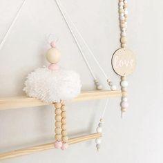 Girls Wooden Nursery Ornaments at Georgie Scott Wooden Ornaments, Beaded Ornaments, Hanging Ornaments, Wooden Beads, Baby Decor, Nursery Decor, Room Decor, Xmas Tree Toppers, Ballerina Room