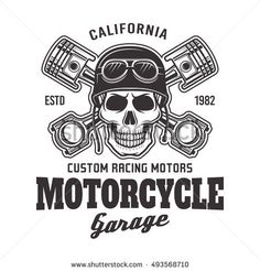 Motorcycle garage vector biker emblem, label or logo with skull in helmet and two crossed pistons in monochrome style isolated on white background