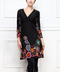 Look at this Reborn Collection Black Paisley Surplice Dress on #zulily today!