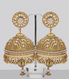 Large Jhumka Earrings Shining With Stones & Pearls : Online Shopping, - Shop for great products from India with discounts and offers, Indian Clothes and Jewelry Online Shop Gold Jhumka Earrings, Indian Jewelry Earrings, India Jewelry, Girls Earrings, Bridal Jewelry, Gold Jewelry, Jewelry Box, Hoop Earrings, Jhumka Designs