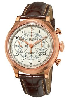 Baume & Mercier A10007 Watches,Baume & Mercier Capeland Mens Rose Gold Flyback Chronograph Watch 10007, Casual Baume & Mercier Automatic Watches