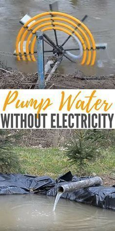 Pump Water Without Electricity - - A way of using hydro powered water pump that requires no external energy using only the current of the water to power your water pump. Homestead Survival, Wilderness Survival, Camping Survival, Outdoor Survival, Survival Prepping, Survival Skills, Emergency Preparedness, Survival Gear, Rv Camping