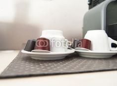 Cups with coffee pods