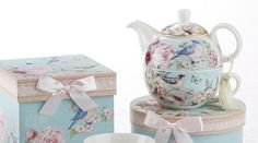 Gift Boxed Porcelain Tea For One - Blue Bird - Tea for One - Roses And Teacups