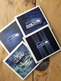 Set of 4 Seattle Seahawks Coasters by TheHomeTeamShop on Etsy