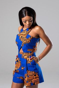 african print dresses Our ankara African print crossfront romper features a geometric cutat the front to make you the centre of attention. With a sexy keyhole opening at the centr African Fashion Designers, Latest African Fashion Dresses, African Print Fashion, Africa Fashion, African Print Jumpsuit, African Print Dresses, African Prints, African Dress Styles, Ankara Jumpsuit