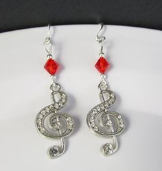Red Music Earrings Treble Clef Earrings Music by BeadBrilliant, $18.00