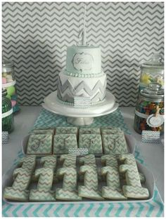 Chevron birthday party cake and cookies! See more party planning ideas at CatchMyParty.com!