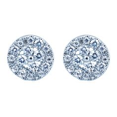 Gabriel 0.27 Carat Diamond Cluster Stud Earrings in 14K White Gold · EG11403W44JJ · Ben Garelick Jewelers