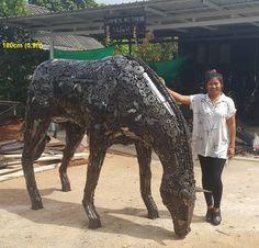 grazing horse statue/sculpture, life size scrap metal art