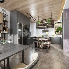 Contemporary Restaurant/Dinning Room Kitchen 21560 Model available on CGmodelX, High quality Produced by Design Connected. Hotel Interiors, Office Interiors, Living Room 3ds Max, Kitchen 3d Model, 3d Max Vray, Table Shelves, Space Architecture, Modern Industrial, Model Homes