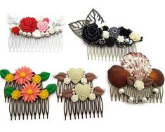 Been working super hard and it shows. Listed all of these combs and the daisies have already sold. Will probably remake them tonight. Hippie Man, Hat Making, Daisies, Fascinator, Rockabilly, Steampunk, Etsy Seller, Fashion Accessories, Mermaid