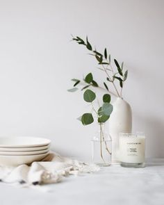 The soft light and white background gives a contemporary feel. The greenery add a burst of life and a sense of nature which reflects the organic values of the brand Soy Candles, Scented Candles, Photo Bougie, Photo Candles, Window Candles, Candle Packaging, Luxury Candles, Photography Branding, Product Photography