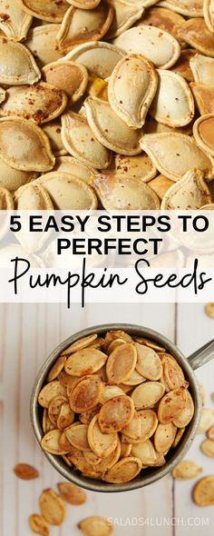 5 Easy Steps to the Perfect Roasted Pumpkin Seeds - Next time you carve pumpkins or cook fresh pumpkins don't throw out the pumpkin seeds. They make great snacks that are rich in fiber and kids love them. Purists will want only salt as a seasoning, but if you're feeling adventurous, experiment and have fun with seasoning blends. #halloween #pumpkin #recipe Healthy Halloween Snacks, Easy Snacks, Easy Meals, Roasted Pumpkin Seeds, Roast Pumpkin, Hot Dog Recipes, Fall Recipes, Dinner Recipes, Perfect Pumpkin Seeds