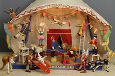 The Humpty Dumpty Circus, with tent, animals and acrobats and clowns. Metal Toys, Tin Toys, Wood Toys, Circus Crafts, Circus Art, Antique Toys, Vintage Toys, Victorian Toys, Halloween Circus
