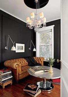 Tips That Help You Get The Best Leather Sofa Deal. Leather sofas and leather couch sets are available in a diversity of colors and styles. A leather couch is the ideal way to improve a space's design and th Veranda Interiors, Masculine Room, Masculine Office, Masculine Style, Living Spaces, Living Room, Cozy Living, Dark Walls, Grey Walls