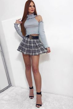 Add a touch of check to your wardrobe in this chic tartan skirt. With an elasticated waist and classic mini length with pleating. Wear with a roll neck jumper and knee high boots to complete the look. As worn by HAYLEY X Women With Beautiful Legs, Tv Girls, Roll Neck Jumpers, Girls Night Out, Tartan, Skater Skirt, Tennis, Womens Fashion, Ladies Fashion