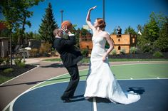 Blocked by the wife! #love #wedding #couple #fun #basketball