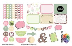 PASTEL SPRING HEARTS  Planner Sticker Printables with Cut