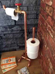 Toilet roll holder toilet roll stand 4 rolls by CopperandBlonde Quirky Bathroom, Copper Bathroom, Toilet Roll Holder Copper, Copper Shelving, Pipe Furniture, Copper Furniture, Copper Art, Copper Decor, Industrial Toilets
