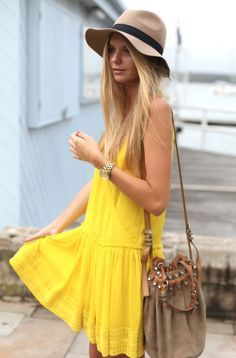 yellow dress + camel accessories