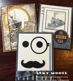 Uses 'Traveler' from Stampin' Up! and the moustache framelit :) Mustache Cards, Birthday Gift Cards, Boy Cards, Travel Cards, Fathers Day Cards, Masculine Cards, Paper Cards, Creative Cards, Stampin Up Cards