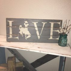 Custom Wood Sign Wyoming Bucking Horse & by Barn Wood Signs, Custom Wood Signs, Rustic Signs, Wooden Signs, Wood Worker, Wood Crafts, Art Crafts, Wood Cutouts, Love Signs
