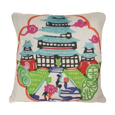 Colorful Pagoda Pillow- Blue