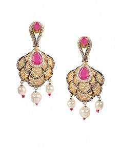 Golden Earrings with Pink Stones