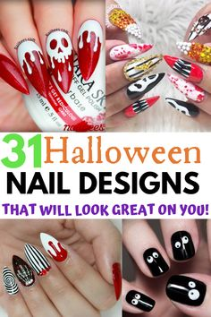 Halloween nails always help me get into the spirt of spooky season. Here are the best Halloween nail designs to try this year. You will find great Halloween acrylic nail ideas and even some great Halloween press on nail options if that's your thing. Either way you will be happy to see these 31 gorgeous Halloween nail designs all in one spot. Halloween Press On Nails, Halloween Acrylic Nails, Halloween Nail Designs, Diy Halloween, Halloween 2019, Halloween Traditions, Halloween Activities, Bee Nails, Chalkboard Nails