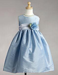 Blue Polyester Dupioni Dress w/Organza Sash