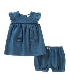 d94ecc1188d2 Take a look at this Denim Cap-Sleeve Top   Shorts - Infant today!