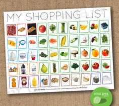 INSTANT DOWNLOAD: My Shopping List   Grocery List For Kids  Grocery Words