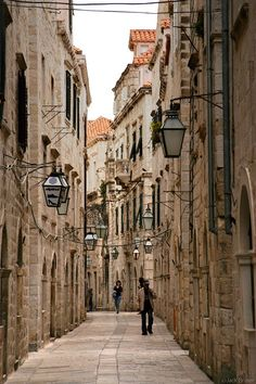 Street in Dubrovnik,Croatia. Dubrovnik is a Croatian city on the Adriatic Sea, in the region of Dalmatia. It is one of the most prominent tourist destinations in the Mediterranean, a seaport and the center of Dubrovnik-Neretva County. (V)