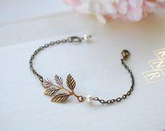 Brass leaf and Swarovski pearl bracelet