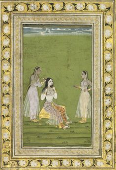 Lady Seated at her Toilette, Hyderabad, 1720-1750.