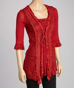 Take a look at this Burgundy Lace-Trim Silk-Blend Tunic by Pretty Angel on #zulily today!