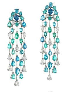 Lumina Earrings in white gold with Paraiba Tourmaline and Diamond Earrings by Amsterdam Sauer Ear Jewelry, High Jewelry, Jewelry Accessories, Jewelry Design, Jewellery Earrings, White Gold Jewelry, Diamond Jewelry, Diamond Earrings, Gold Jewellery