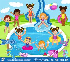 50% OFF SALE Pool Party Clipart Pool party clipart by Alefclipart